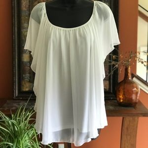 White tank with sheer overlay